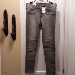 nwt h&m skinny gray moto jeans 33